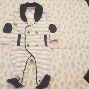 Navy blue and gray stripe footed onesie